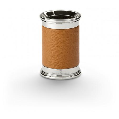 Pot à crayons en cuir cognac